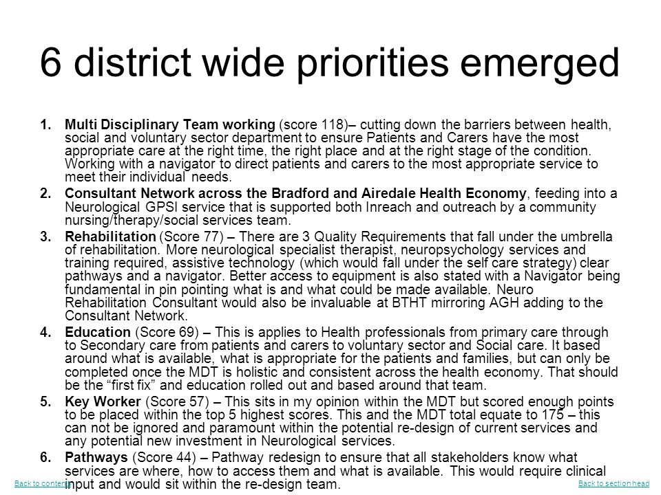 6 district wide priorities emerged 1.Multi Disciplinary Team working (score 118)– cutting down the barriers between health, social and voluntary sector department to ensure Patients and Carers have the most appropriate care at the right time, the right place and at the right stage of the condition.
