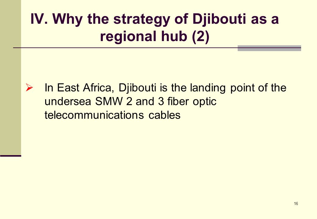 16 IV. Why the strategy of Djibouti as a regional hub (2)  In East Africa, Djibouti is the landing point of the undersea SMW 2 and 3 fiber optic tele