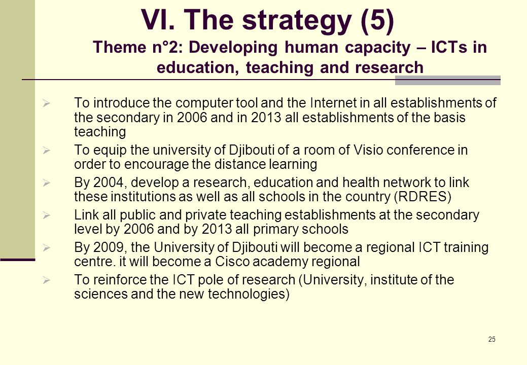 25 VI. The strategy (5) Theme n°2: Developing human capacity – ICTs in education, teaching and research  To introduce the computer tool and the Inter