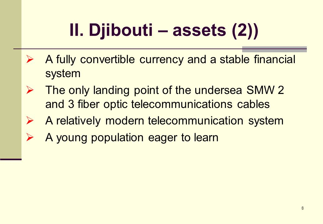 19 IV. Why the strategy of Djibouti as a regional hub (5) Sub-Marine cable Aden-Djibouti