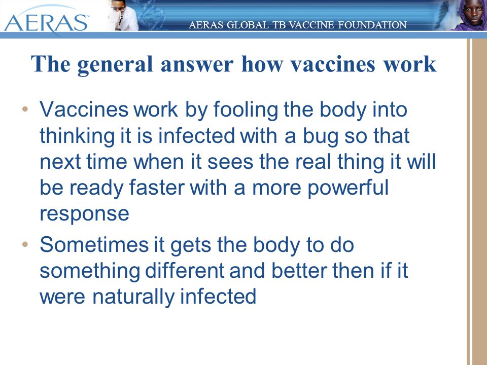 AERAS GLOBAL TB VACCINE FOUNDATION The general answer how vaccines work Vaccines work by fooling the body into thinking it is infected with a bug so t
