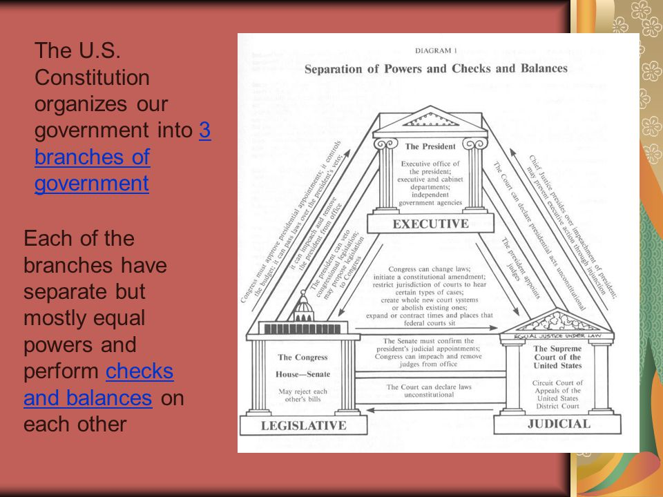 The U.S. Constitution organizes our government into 3 branches of government Each of the branches have separate but mostly equal powers and perform ch