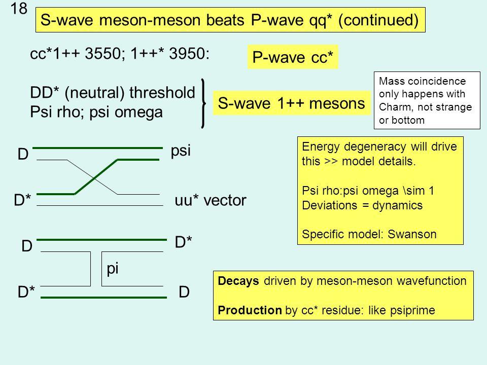cc*1++ 3550; 1++* 3950: DD* (neutral) threshold Psi rho; psi omega S-wave 1++ mesons P-wave cc* D D* psi uu* vector D D* D pi Energy degeneracy will drive this >> model details.