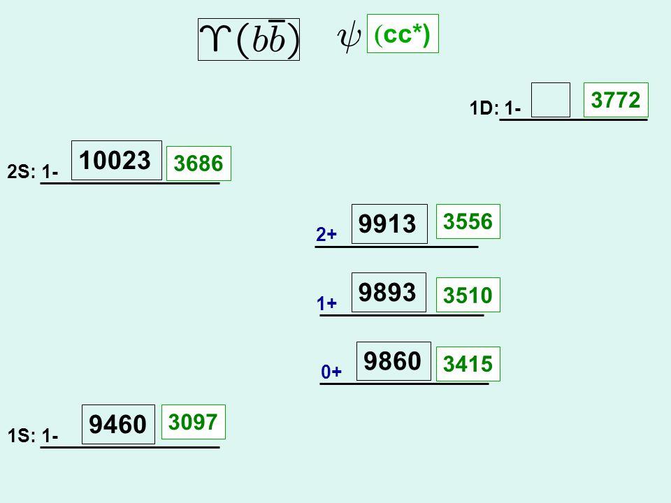 2S: 1- 1S: 1- 1D: 1- 2+ 1+ 0+ 9460 10023 9860 9893 9913 3686 3097 3415 3510 3556 3772  cc*)