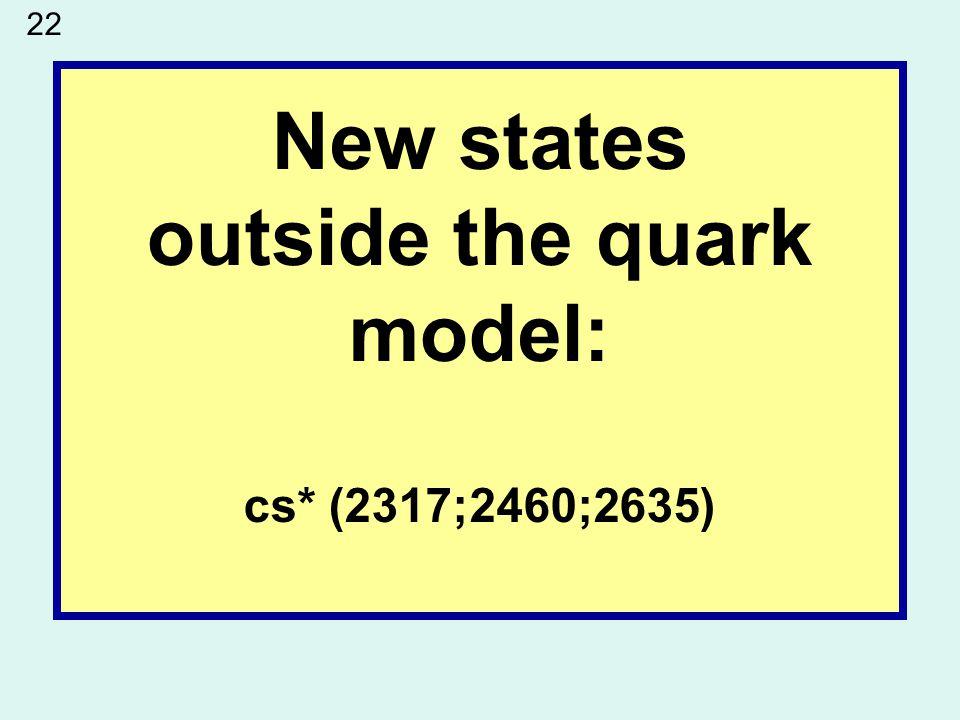 New states outside the quark model: cs* (2317;2460;2635) 22