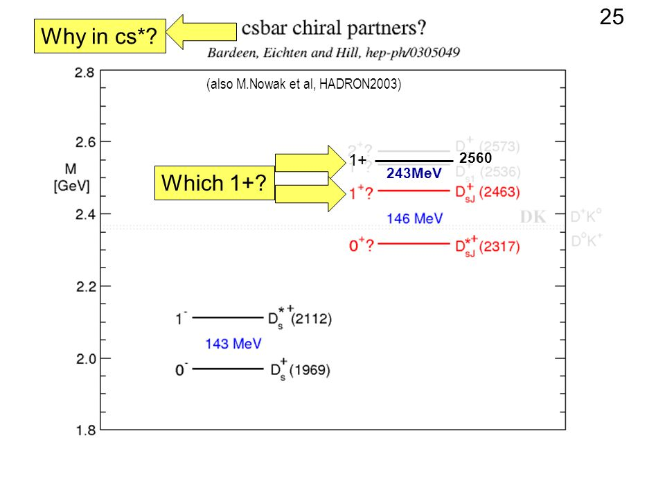 (also M.Nowak et al, HADRON2003) Why in cs*? Which 1+? 2560 1+ 243MeV 25