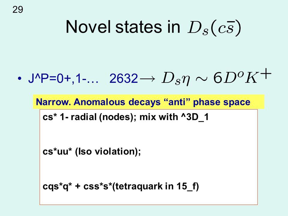 Novel states in J^P=0+,1-… 2632 cs* 1- radial (nodes); mix with ^3D_1 cs*uu* (Iso violation); cqs*q* + css*s*(tetraquark in 15_f) Narrow.