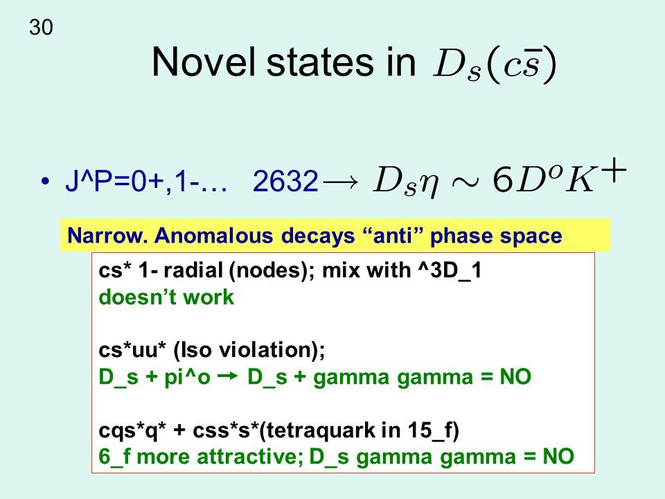 Novel states in J^P=0+,1-… 2632 cs* 1- radial (nodes); mix with ^3D_1 doesn't work cs*uu* (Iso violation); D_s + pi^o D_s + gamma gamma = NO cqs*q* + css*s*(tetraquark in 15_f) 6_f more attractive; D_s gamma gamma = NO Narrow.