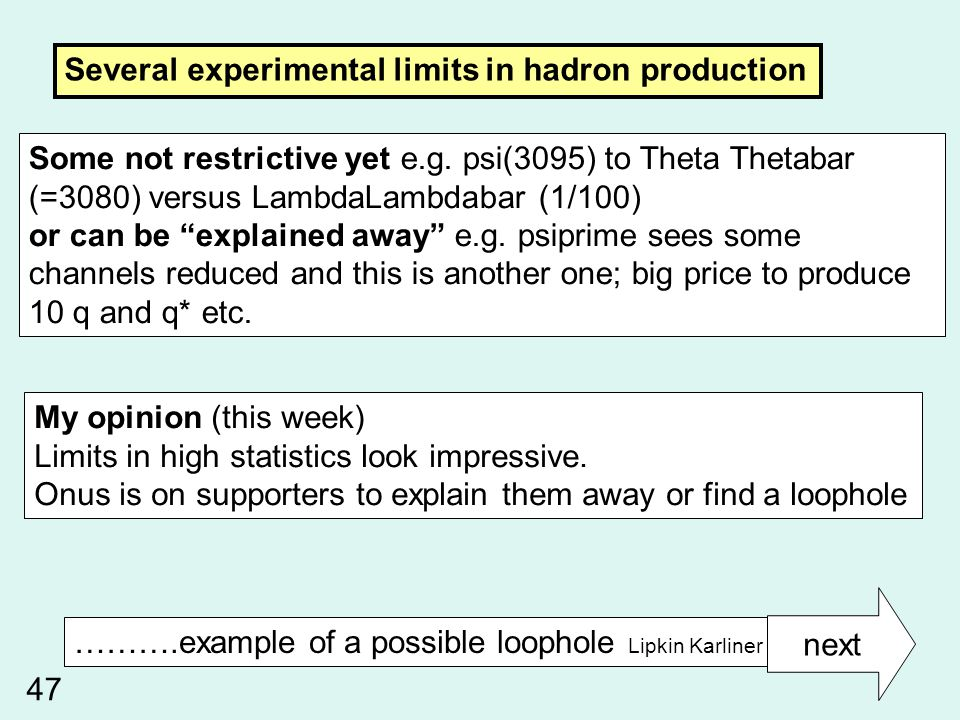 Several experimental limits in hadron production Some not restrictive yet e.g.
