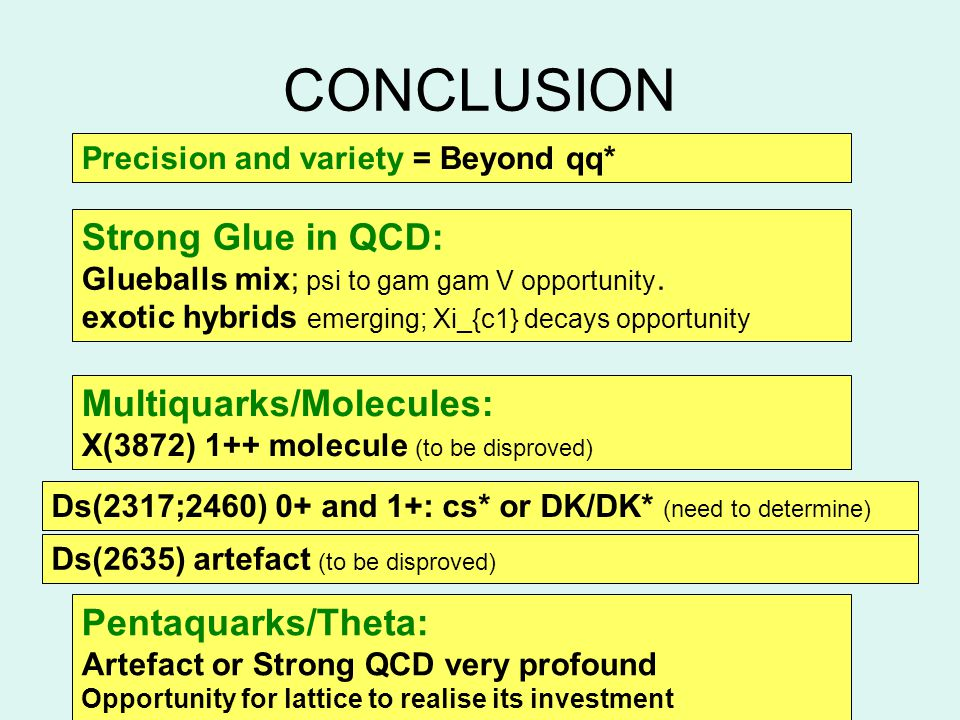 CONCLUSION Precision and variety = Beyond qq* Strong Glue in QCD: Glueballs mix; psi to gam gam V opportunity.
