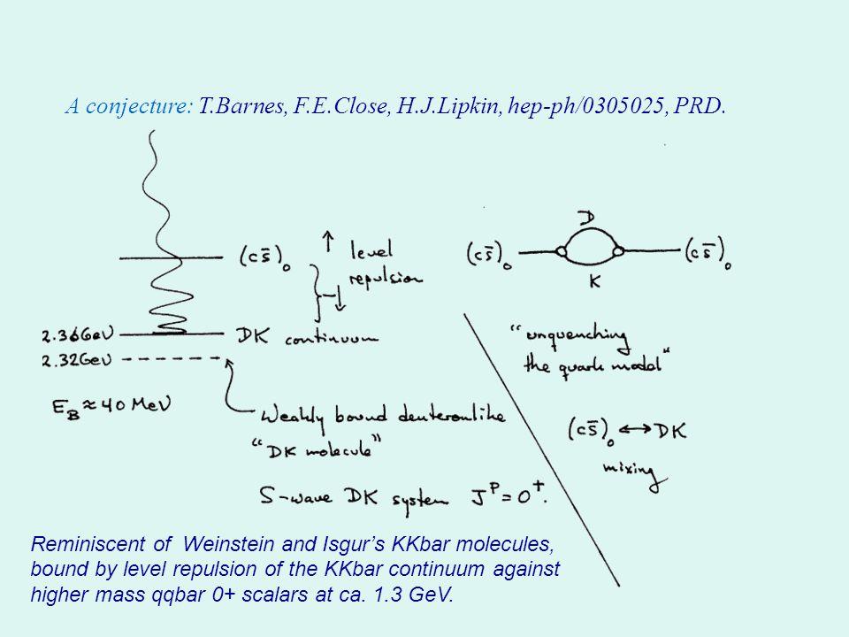 A conjecture: T.Barnes, F.E.Close, H.J.Lipkin, hep-ph/0305025, PRD.