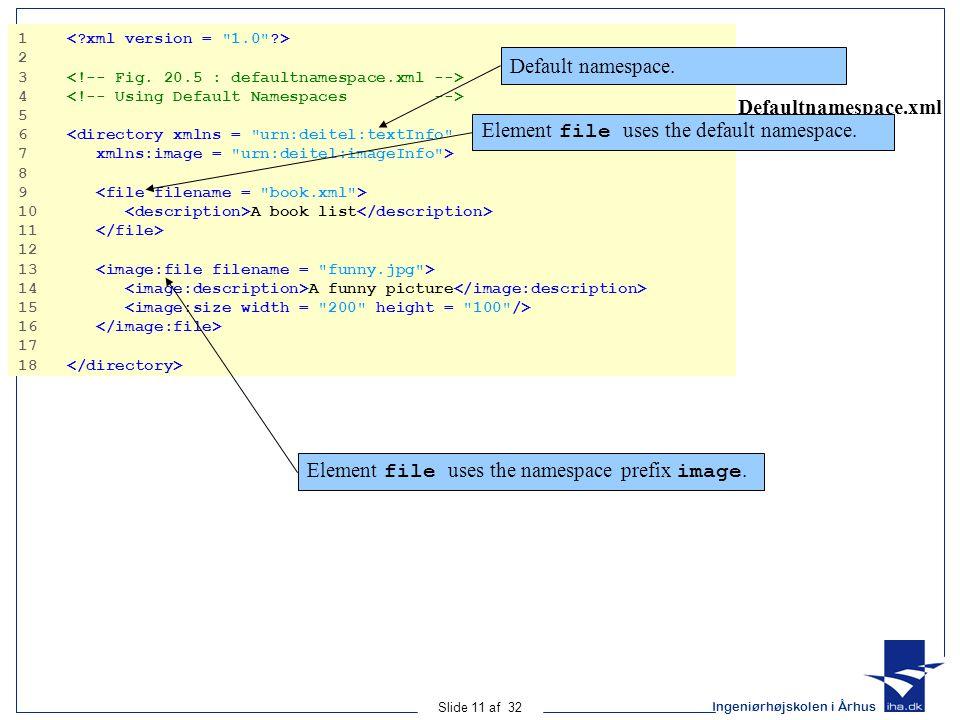 Ingeniørhøjskolen i Århus Slide 11 af 32 Defaultnamespace.xml 1 2 3 4 5 6 <directory xmlns = urn:deitel:textInfo 7 xmlns:image = urn:deitel:imageInfo > 8 9 10 A book list 11 12 13 14 A funny picture 15 16 17 18 Default namespace.