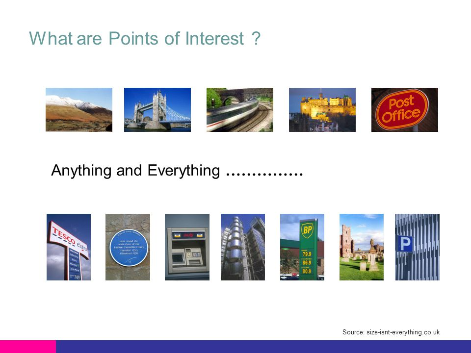 Anything and Everything …………… What are Points of Interest Source: size-isnt-everything.co.uk