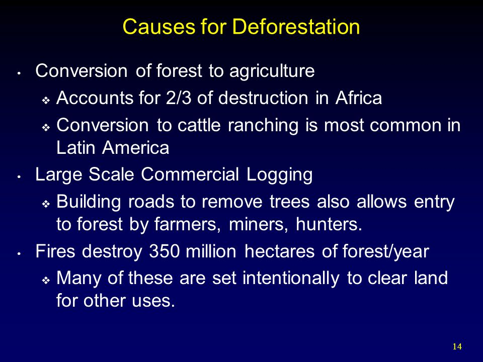 14 Causes for Deforestation Conversion of forest to agriculture  Accounts for 2/3 of destruction in Africa  Conversion to cattle ranching is most common in Latin America Large Scale Commercial Logging  Building roads to remove trees also allows entry to forest by farmers, miners, hunters.