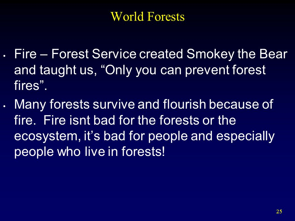 25 World Forests Fire – Forest Service created Smokey the Bear and taught us, Only you can prevent forest fires .