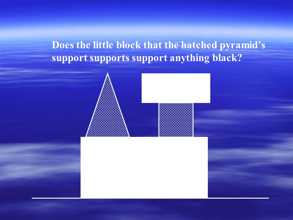 Does the little block that the hatched pyramid's support supports support anything black?