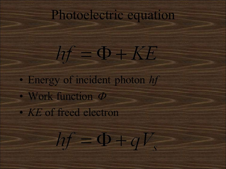 Maximum kinetic energy The energy transferred to an electron is hf The ke it will be carrying when it leaves the metal is hf minus any energy its lost on the way out(thats why there is a range of ke) The minimum amount of energy it can lose is the work function energy so the maximum kinetic energy is given by the equation hf-work function