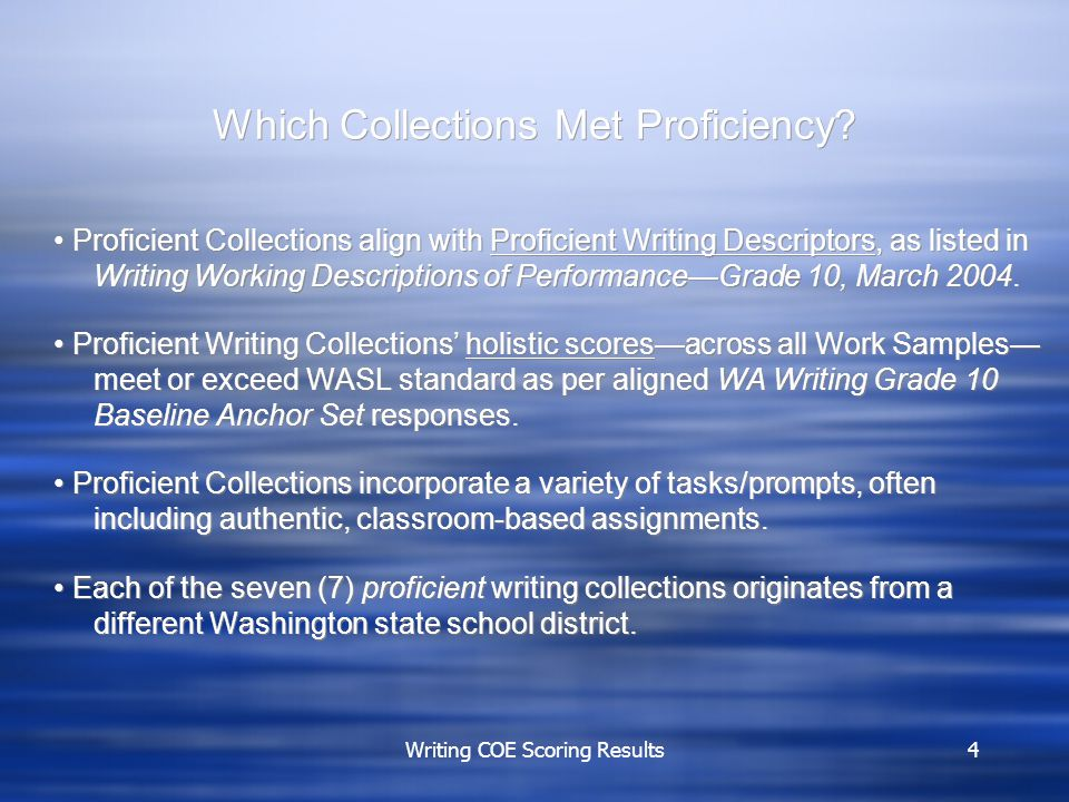Writing COE Scoring Results4 Which Collections Met Proficiency.