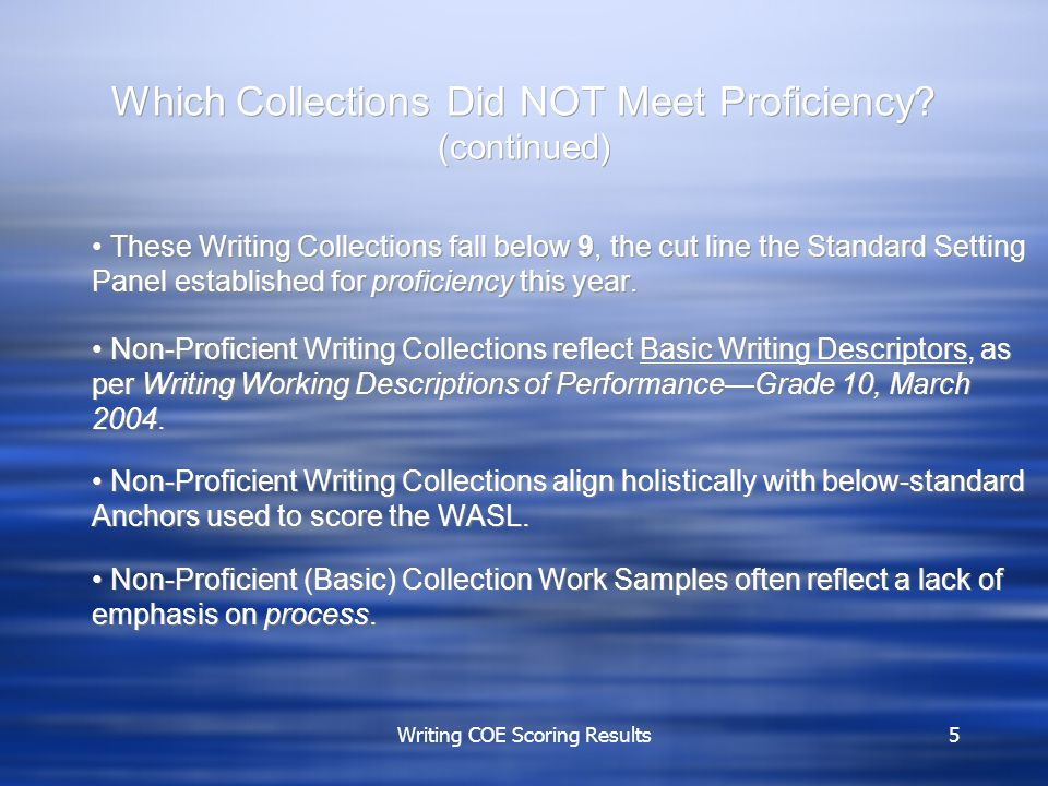 Writing COE Scoring Results5 Which Collections Did NOT Meet Proficiency.