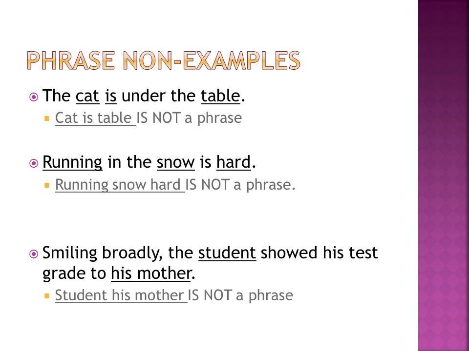  The cat is under the table.  Cat is table IS NOT a phrase  Running in the snow is hard.