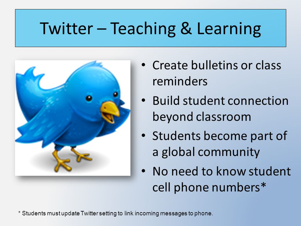 Twitter – Teaching & Learning Create bulletins or class reminders Build student connection beyond classroom Students become part of a global community