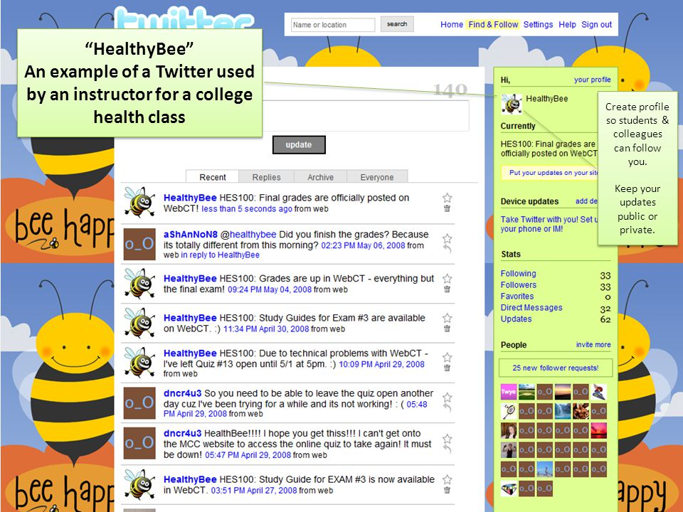 """""""HealthyBee"""" An example of a Twitter used by an instructor for a college health class """"HealthyBee"""" An example of a Twitter used by an instructor for a"""