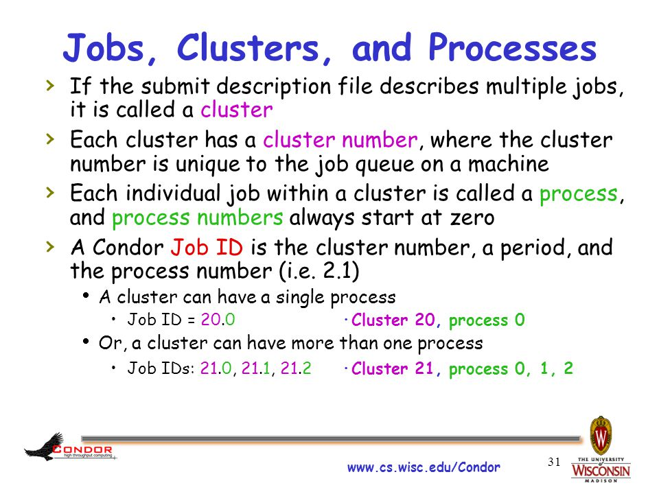 www.cs.wisc.edu/Condor 31 Jobs, Clusters, and Processes › If the submit description file describes multiple jobs, it is called a cluster › Each cluster has a cluster number, where the cluster number is unique to the job queue on a machine › Each individual job within a cluster is called a process, and process numbers always start at zero › A Condor Job ID is the cluster number, a period, and the process number (i.e.