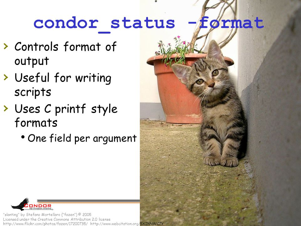 www.cs.wisc.edu/Condor 61 condor_status -format › Controls format of output › Useful for writing scripts › Uses C printf style formats  One field per argument slanting by Stefano Mortellaro ( fazen ) © 2005 Licensed under the Creative Commons Attribution 2.0 license http://www.flickr.com/photos/fazen/17200735/ http://www.webcitation.org/5XIhNWC7Y