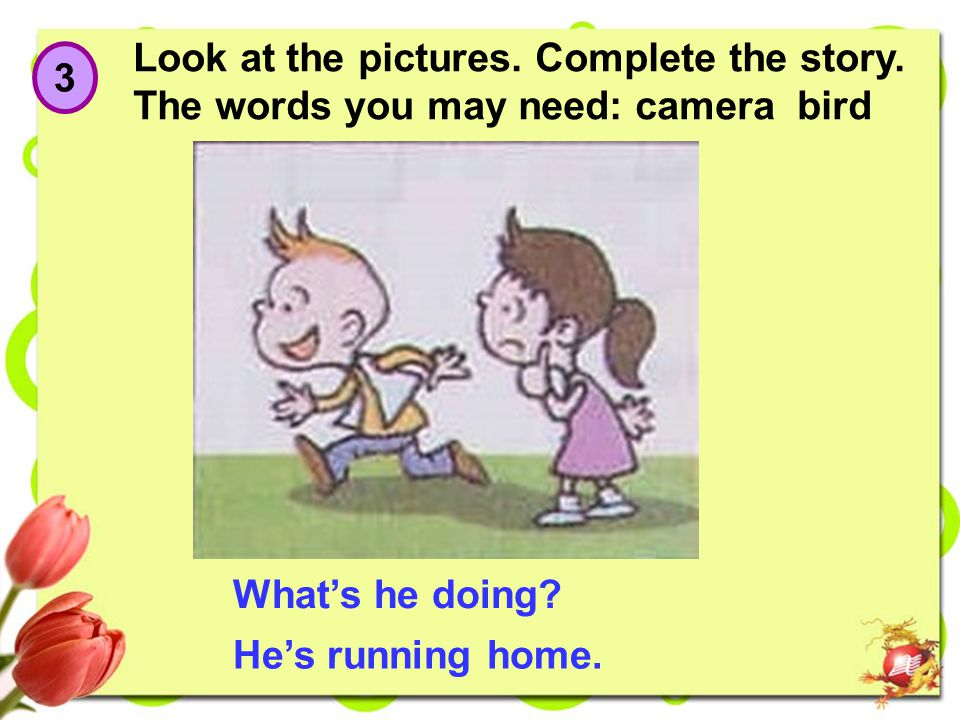 3 Look at the pictures.Complete the story. The words you may need: camera bird What's he doing.