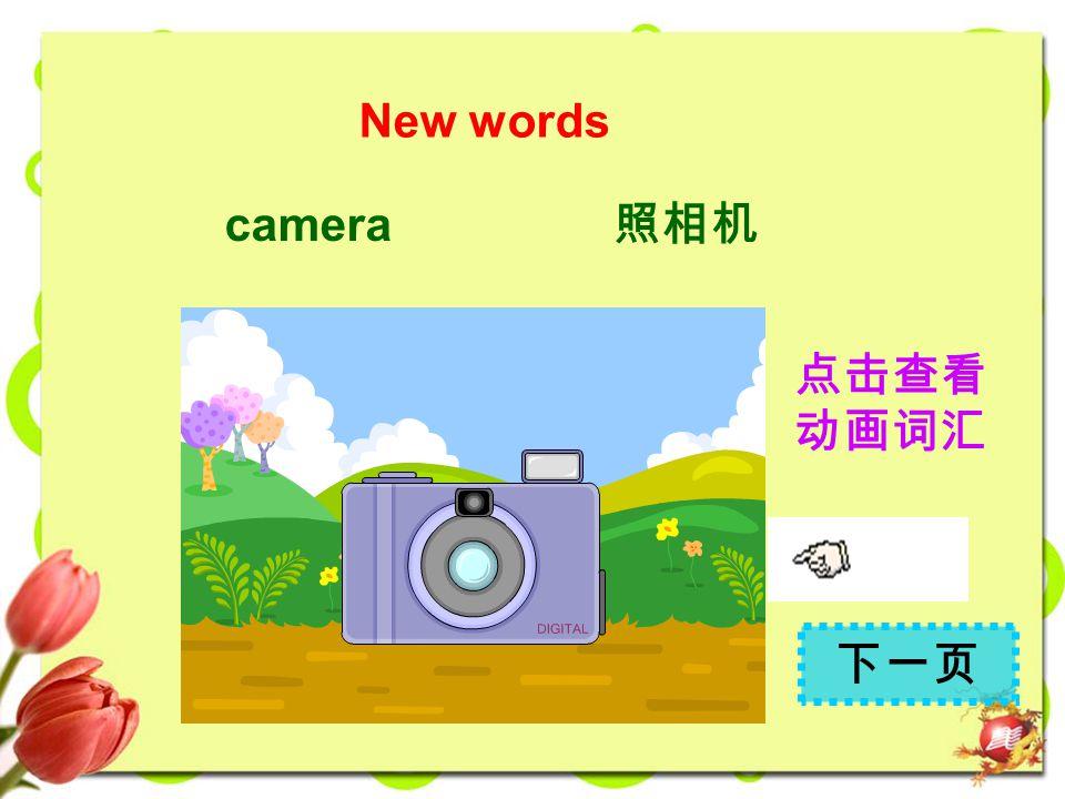 New words camera 照相机 点击查看 动画词汇 下一页
