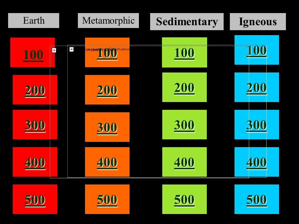 100 200 400 300 400 EarthMetamorphic SedimentaryIgneous 300 200 400 200 100 500 100