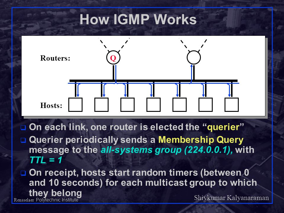 Shivkumar Kalyanaraman Rensselaer Polytechnic Institute 25 How IGMP Works q On each link, one router is elected the querier q Querier periodically sends a Membership Query message to the all-systems group (224.0.0.1), with TTL = 1 q On receipt, hosts start random timers (between 0 and 10 seconds) for each multicast group to which they belong QRouters: Hosts: