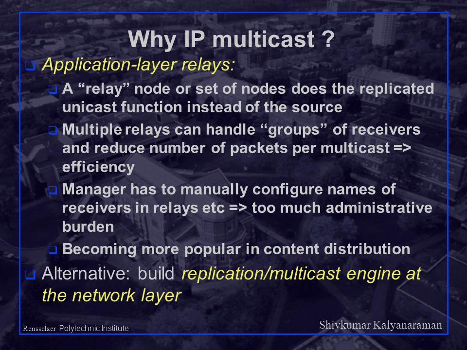 Shivkumar Kalyanaraman Rensselaer Polytechnic Institute 5 Why IP multicast .