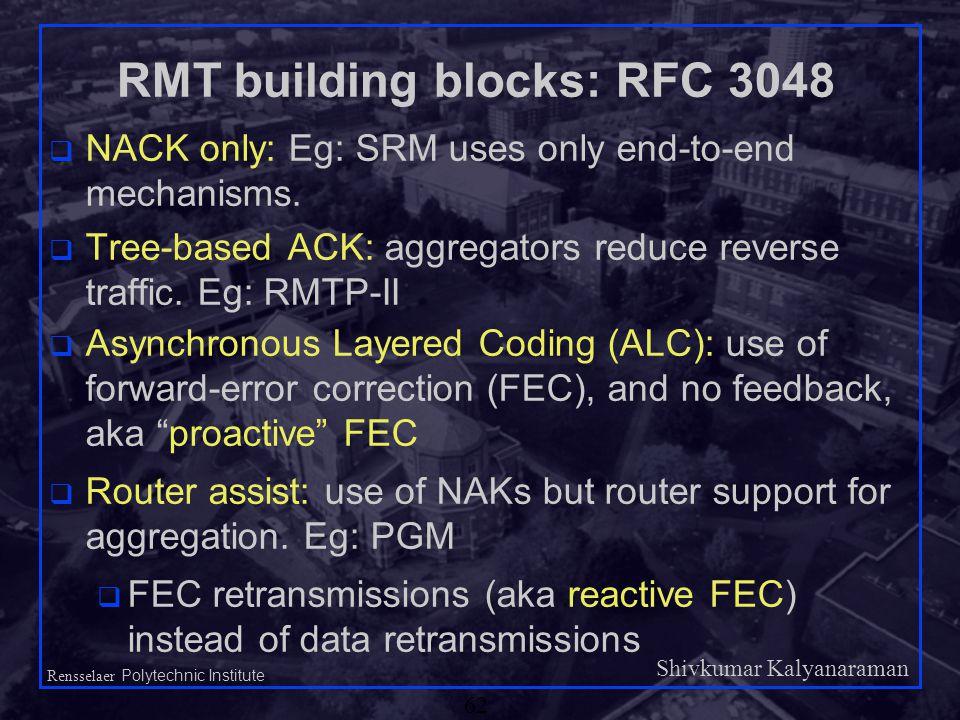 Shivkumar Kalyanaraman Rensselaer Polytechnic Institute 62 RMT building blocks: RFC 3048 q NACK only: Eg: SRM uses only end-to-end mechanisms.