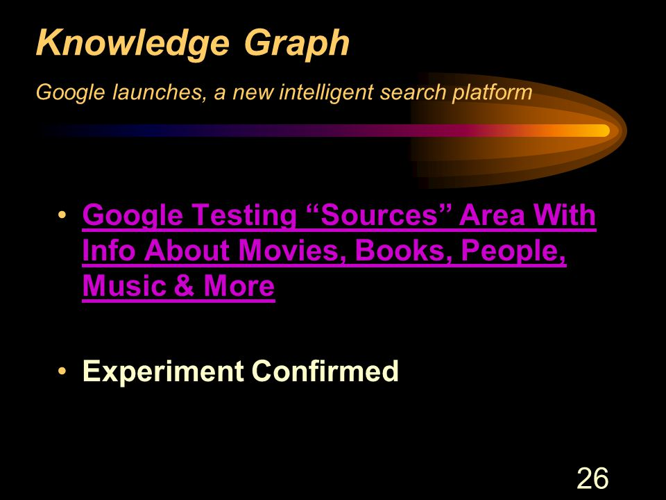 26 Knowledge Graph Google launches, a new intelligent search platform Google Testing Sources Area With Info About Movies, Books, People, Music & MoreGoogle Testing Sources Area With Info About Movies, Books, People, Music & More Experiment Confirmed