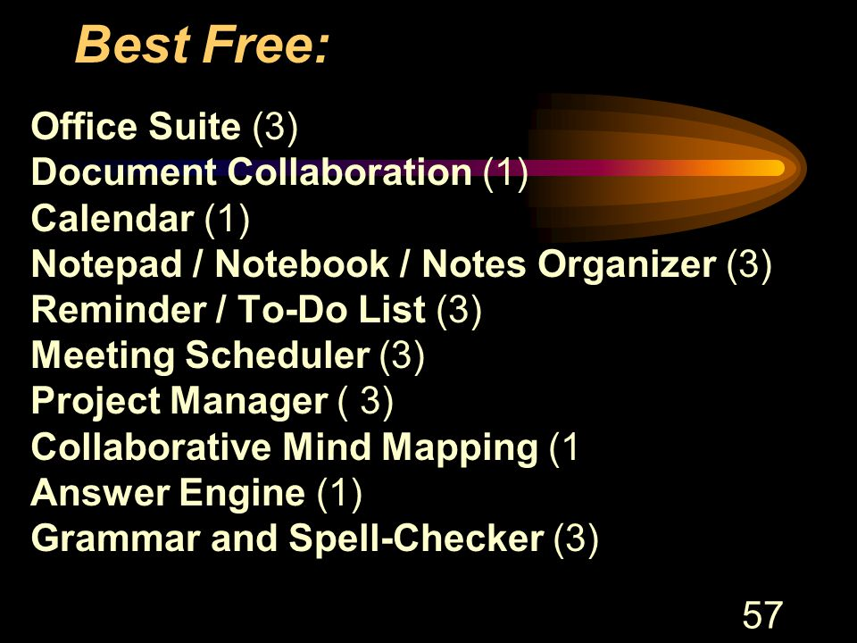 57 Best Free: Office Suite (3) Document Collaboration (1) Calendar (1) Notepad / Notebook / Notes Organizer (3) Reminder / To-Do List (3) Meeting Scheduler (3) Project Manager ( 3) Collaborative Mind Mapping (1 Answer Engine (1) Grammar and Spell-Checker (3)