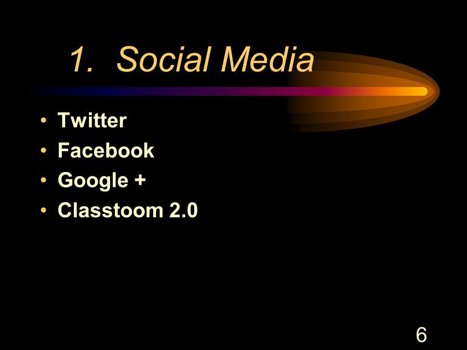 6 1. Social Media Twitter Facebook Google + Classtoom 2.0
