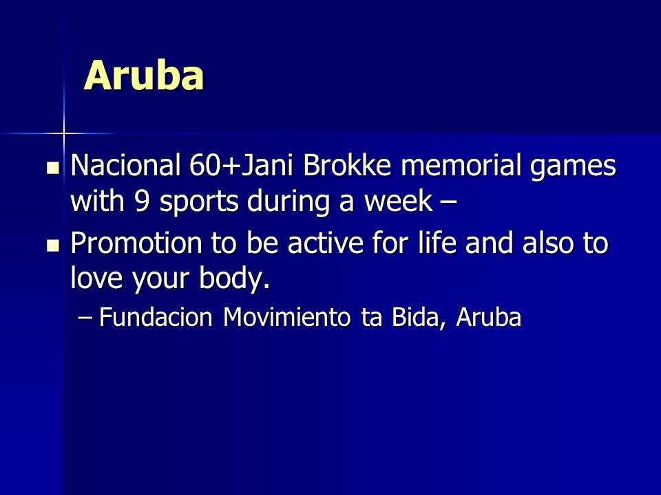 Aruba Nacional 60+Jani Brokke memorial games with 9 sports during a week – Nacional 60+Jani Brokke memorial games with 9 sports during a week – Promotion to be active for life and also to love your body.
