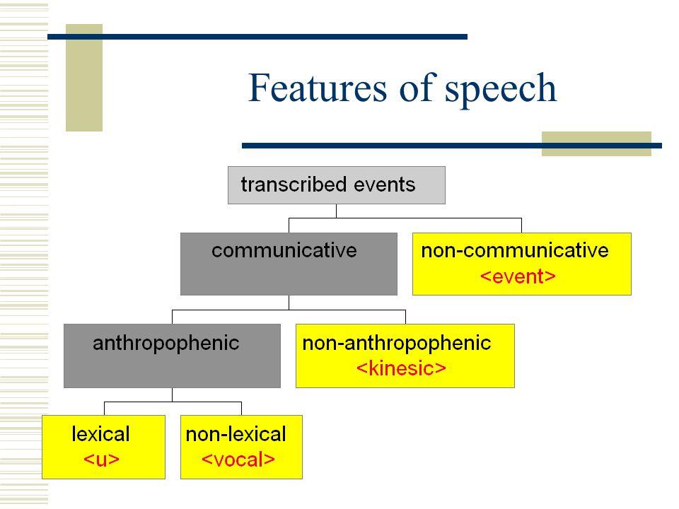 Features of speech