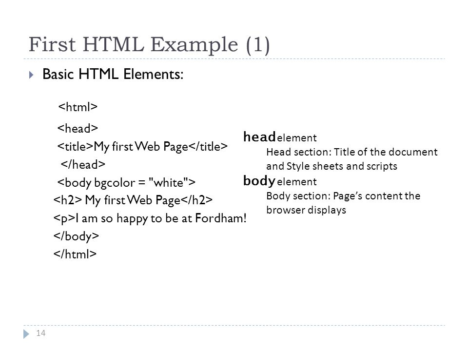 First HTML Example (1) 14  Basic HTML Elements: My first Web Page My first Web Page I am so happy to be at Fordham.