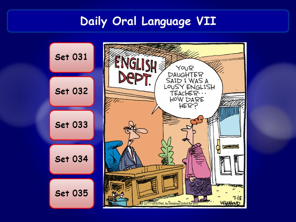 Daily Oral Language VII Set 031 Set 032 Set 033 Set 034 Set 035