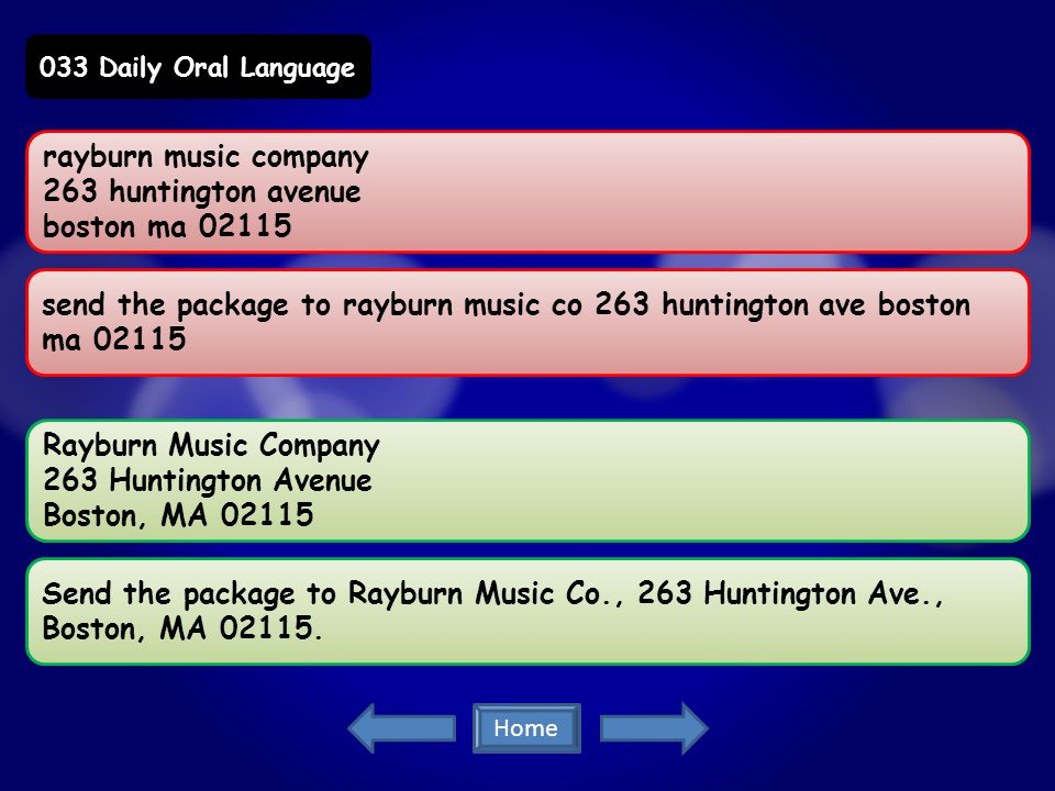 rayburn music company 263 huntington avenue boston ma 02115 send the package to rayburn music co 263 huntington ave boston ma 02115 Rayburn Music Company 263 Huntington Avenue Boston, MA 02115 Send the package to Rayburn Music Co., 263 Huntington Ave., Boston, MA 02115.