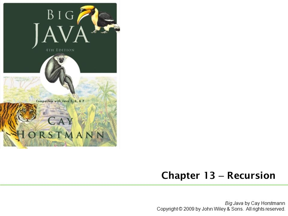 Big Java by Cay Horstmann Copyright © 2009 by John Wiley & Sons.