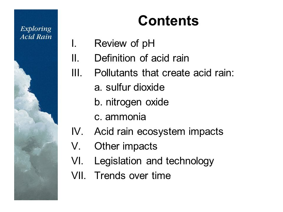 the issue of acid rain Causes, effects and solutions of acid rain: acid rain refers to a mixture of deposited material, both wet and dry, coming from the atmosphere containing more than normal amounts of nitric and sulfuric acids.