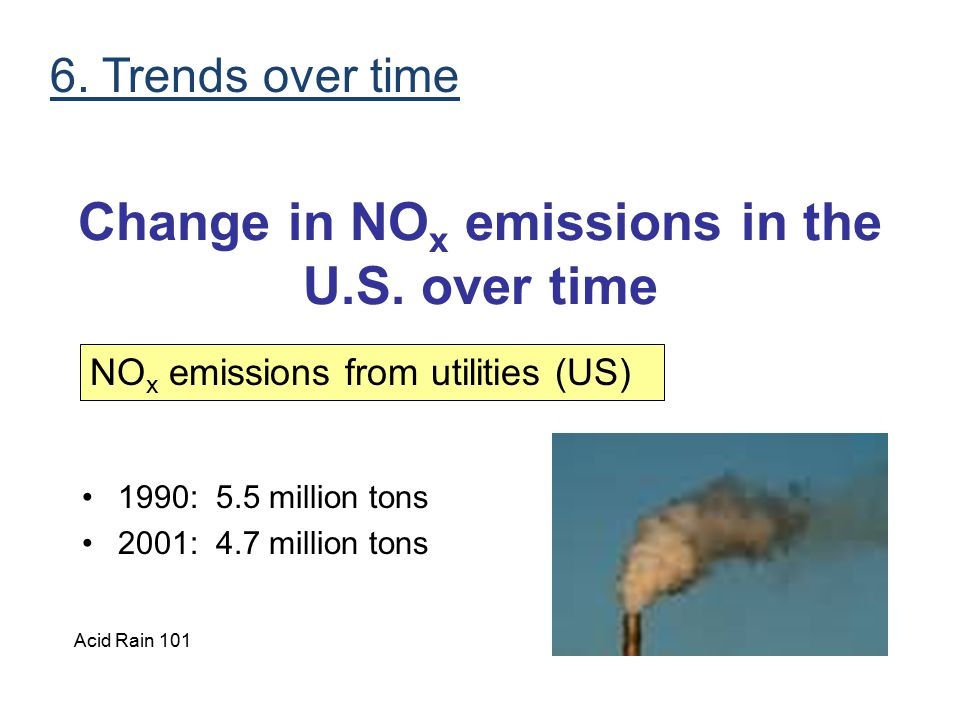 Change in NO x emissions in the U.S. over time 1990: 5.5 million tons 2001: 4.7 million tons NO x emissions from utilities (US) 6. Trends over time Ac