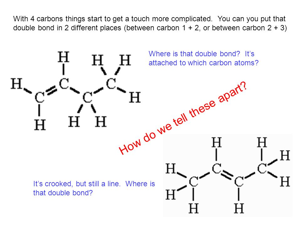 Let's draw some more… 1-decyne 1-pentyne 2-pentyne 3-hexyne