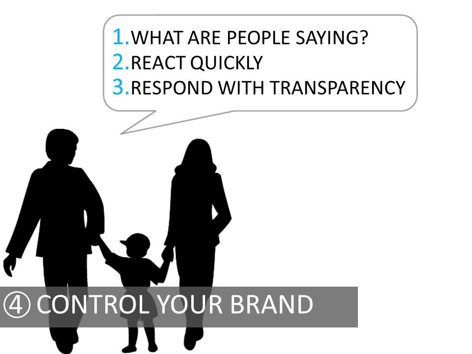 1. WHAT ARE PEOPLE SAYING? 2. REACT QUICKLY 3. RESPOND WITH TRANSPARENCY
