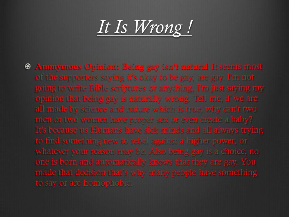 It Is Wrong .