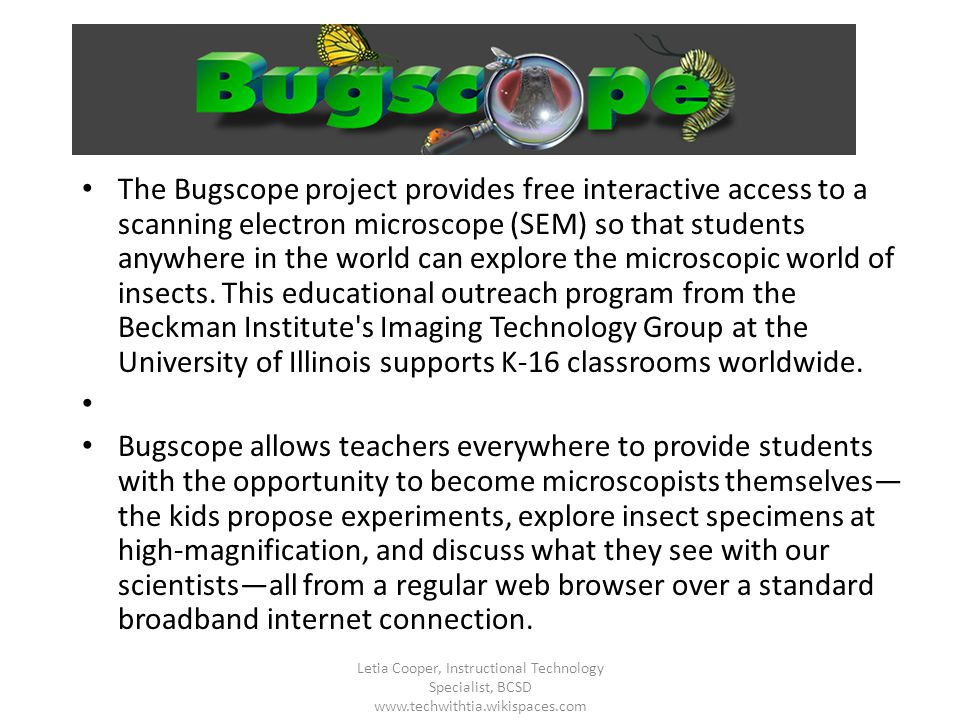 The Bugscope project provides free interactive access to a scanning electron microscope (SEM) so that students anywhere in the world can explore the m