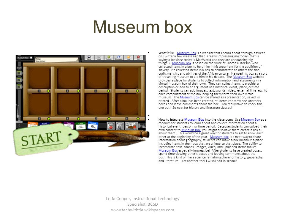 Museum box What it is: Museum Box is a website that I heard about through a tweet on Twitter a few weeks ago that is really impressing me today (that